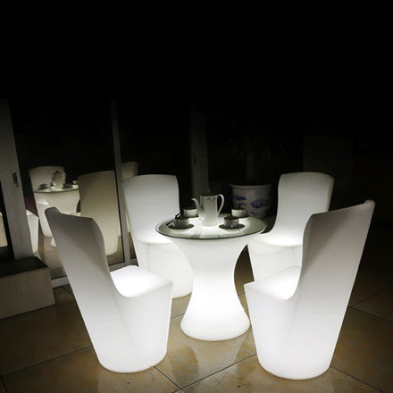 glowing led seat plastic chair white