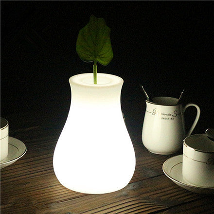 glowing vase led table light white