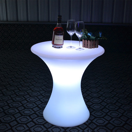 led illuminated cocktail table for party blue