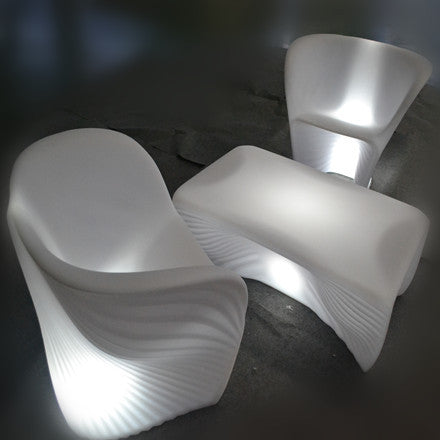 led illuminated ocean shell conch armchair white