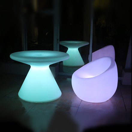 Best One Leg Round Plastic LED Coffee Table For Sale