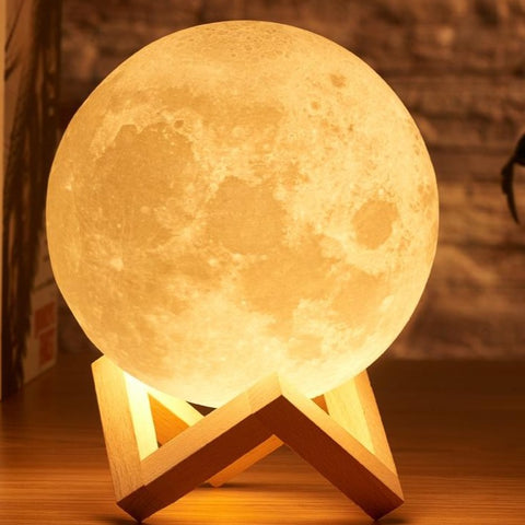 Moon Lamp 3D print night moon light Rechargeable 16 Colors App control