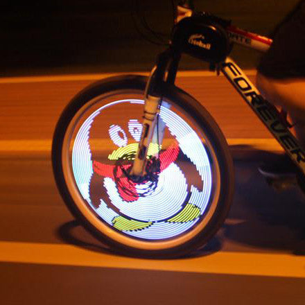 led bike wheel light at night party. The Wheel light system create thousands of amazing patterns in your spinning bicycle wheel to get you noticed at night.