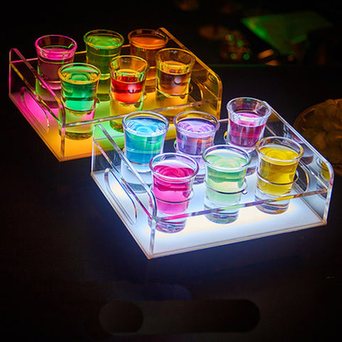Color changeable 6-Bottle Bullet Cup drinkware Holder light up Wine rack