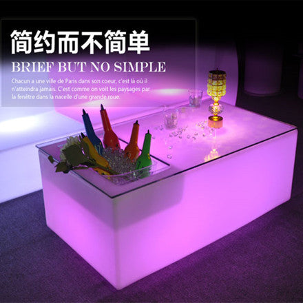 Rectangular Led Low Bar Table With Wine Cooler · LED Bar Table With Wine  Cooler ...