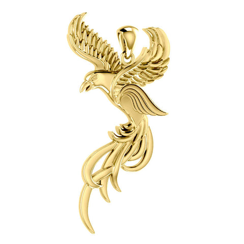 Soar to the Heavens Flying Phoenix Solid Gold Pendant GPD5072 peterstone.