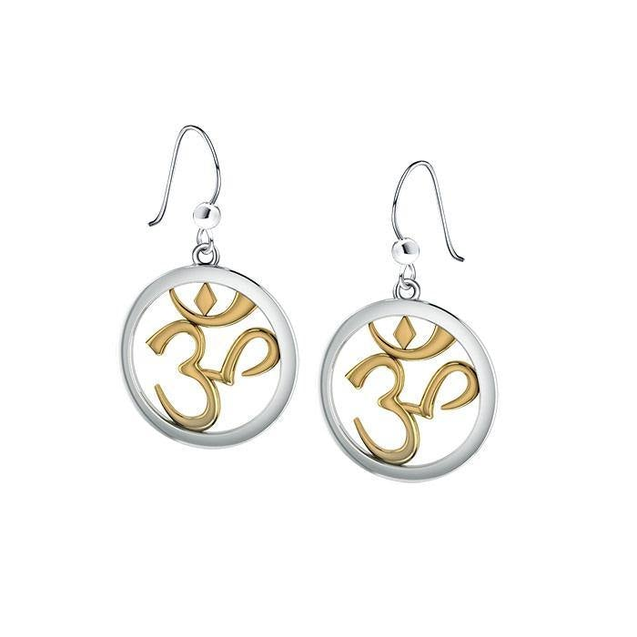 Om Gold Accent Silver Earrings MER1345