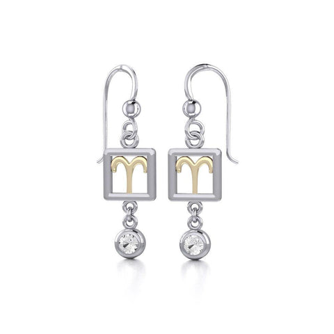Aries Zodiac Sign Silver and Gold Earrings Jewelry with White Stone MER1769