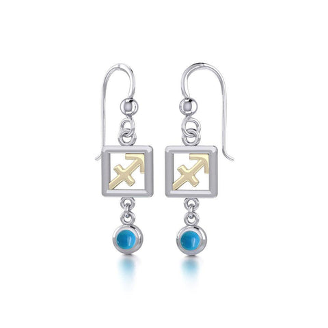 Sagittarius Zodiac Sign Silver and Gold Earrings Jewelry with Turquoise MER1777