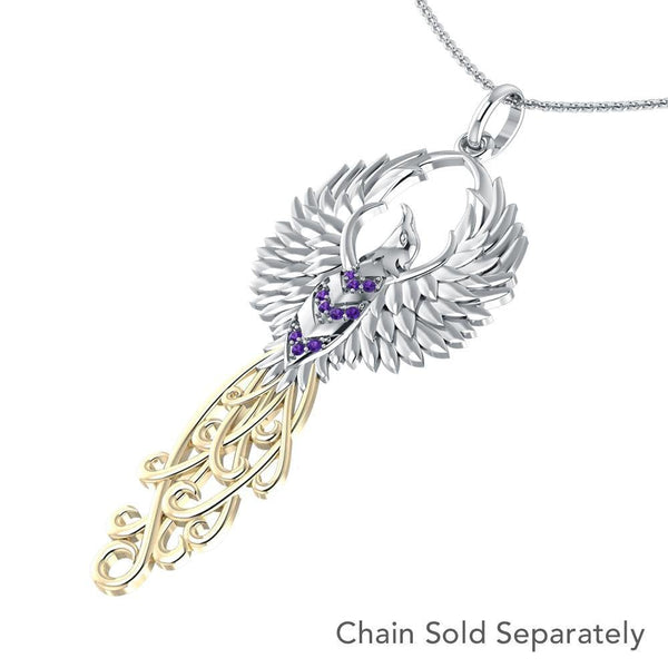 Rising Phoenix Silver and Gold Pendant