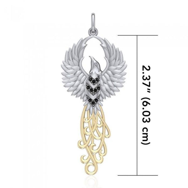 Rising Phoenix Silver and Gold Pendant MPD2915