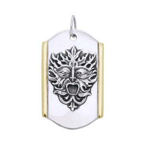 Silver and Gold Green Man Pendant MPD3129