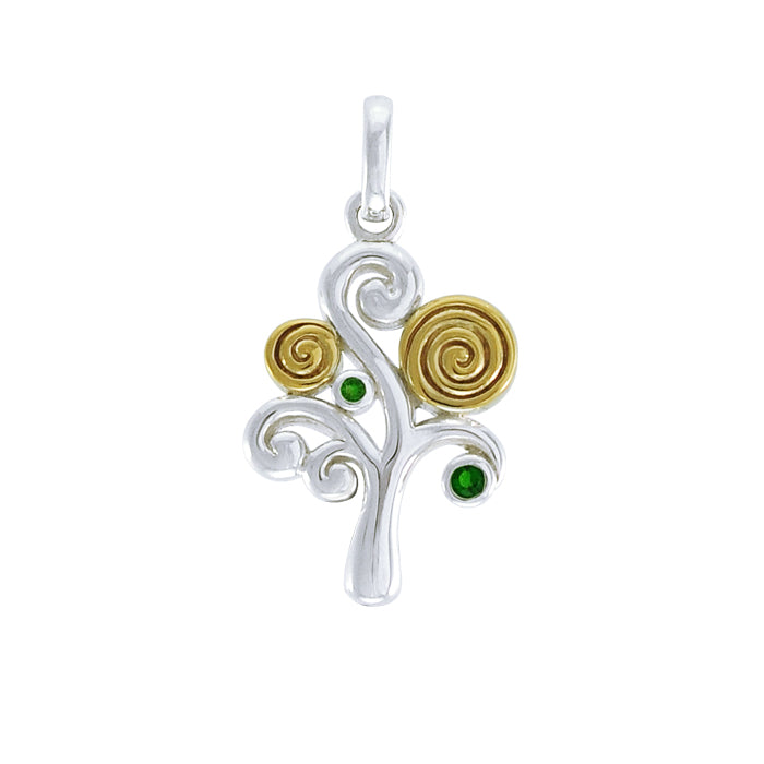 Modern Tree of Life Silver and Gold Pendant MPD3887