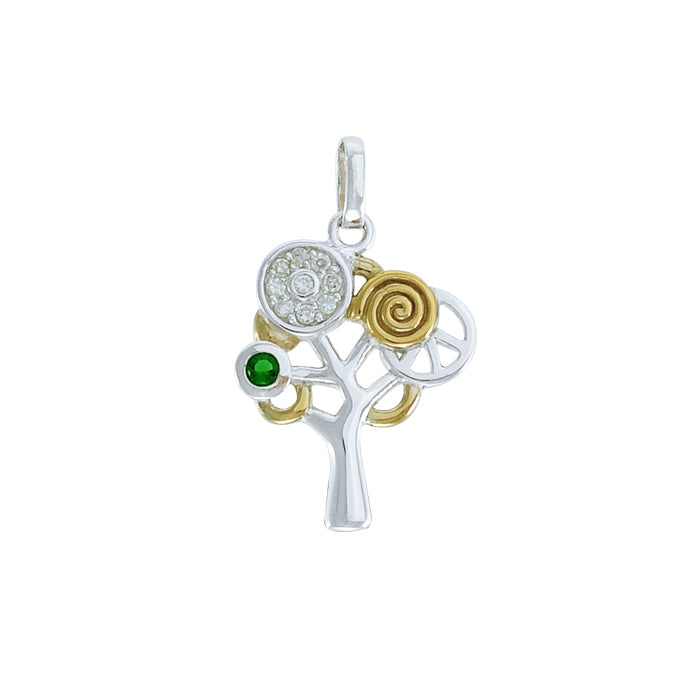 Modern Tree of Life Silver and Gold Pendant MPD3888