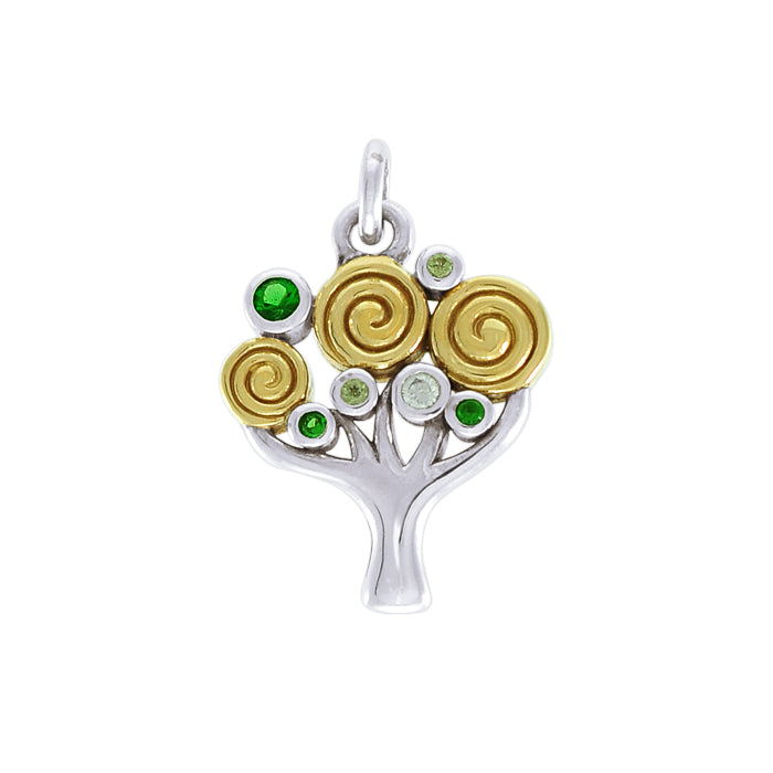 Modern Tree of Life Silver and Gold Pendant MPD3889