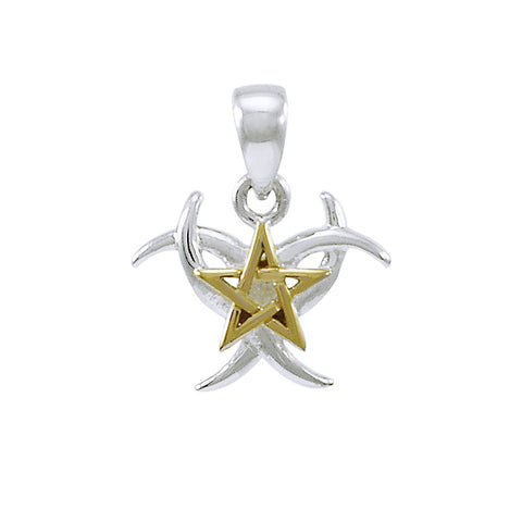 Triple Moon with Star Silver and Gold Pendant MPD4254