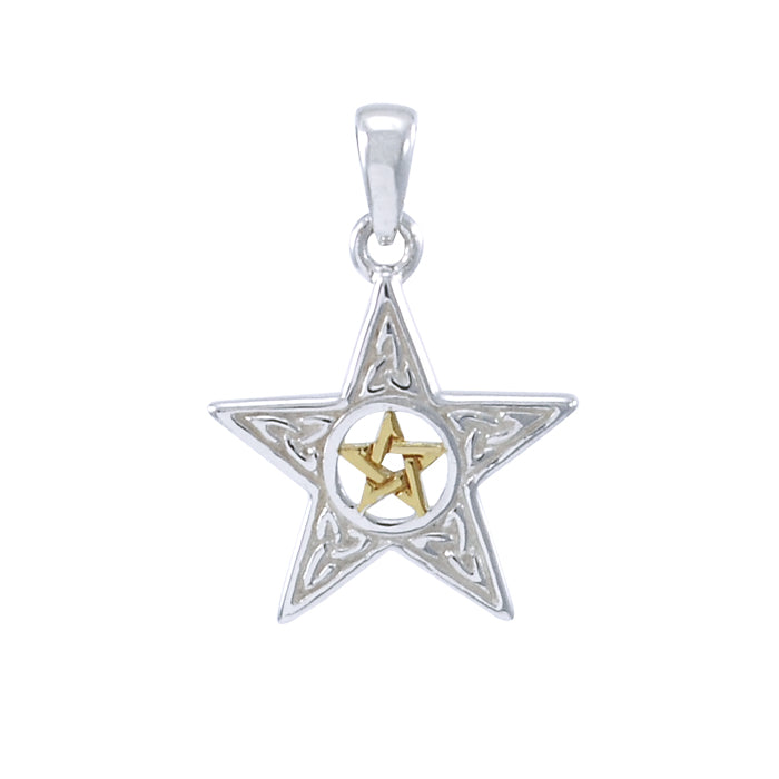 Double Pentacle Silver and Gold Pendant MPD4260