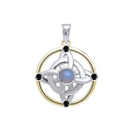 Celtic Witches Protection Knot Silver and Gold Pendant MPD4728