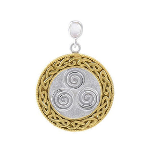 Celtic Triskelion Spiral Choice Spell Silver and Gold Pendant MPD4748