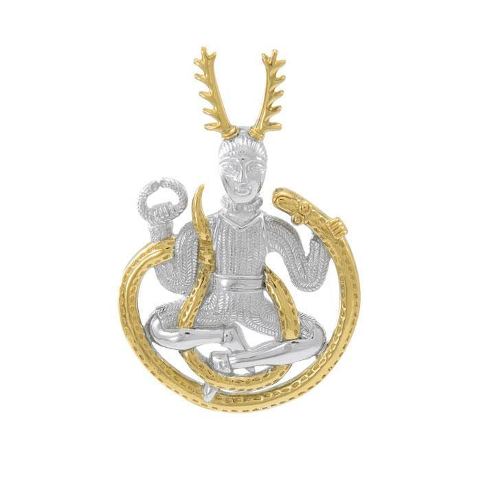 Celtic God Cernunnos Silver and Gold Pendant MPD4757