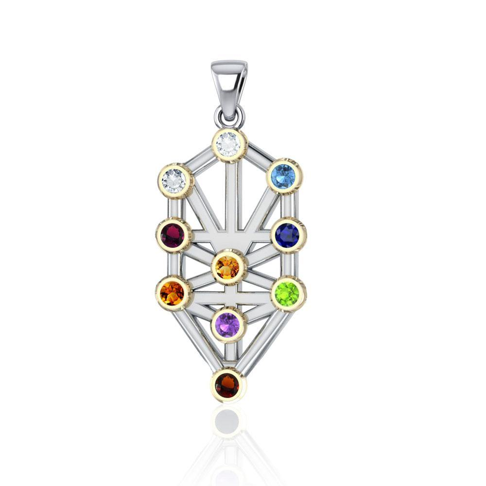 Kabbalah with Chakra Gemstone Silver and Gold Pendant MPD5074