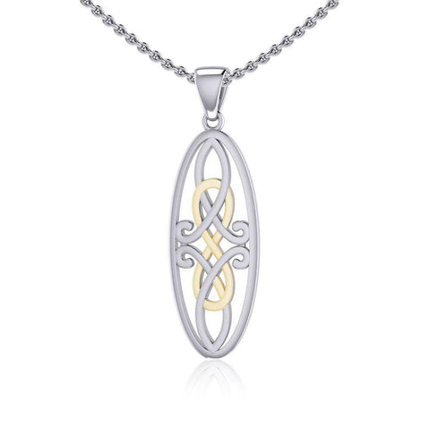 Celtic Woven Design in Oval Shape Silver and Gold Pendant MPD5233