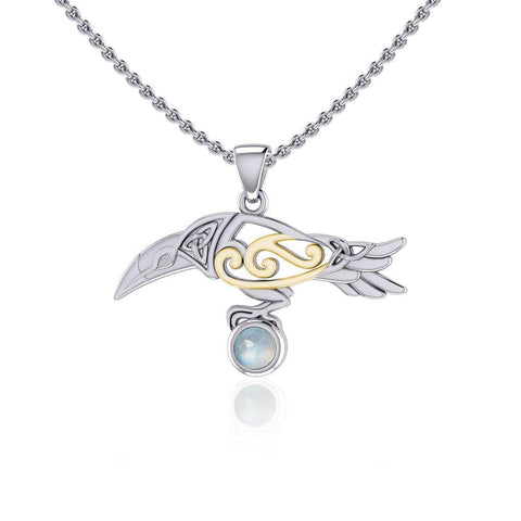 Celtic Spirit Raven with Gemstone Silver and Gold Pendant MPD5252