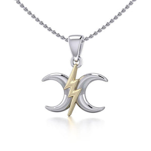 The Power Moon Silver and Gold Pendant MPD5257