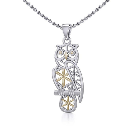 Owl with Flower of Life Silver and Gold Pendant MPD5266