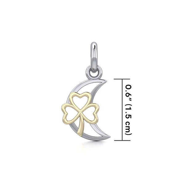 The Golden Shamrock in Crescent Moon Silver Pendant MPD5268