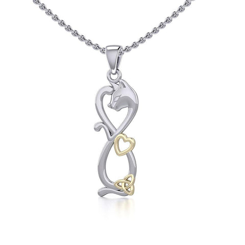 Infinity Cat with Heart and Celtic Trinity Knot Silver and Gold Pendant MPD5279