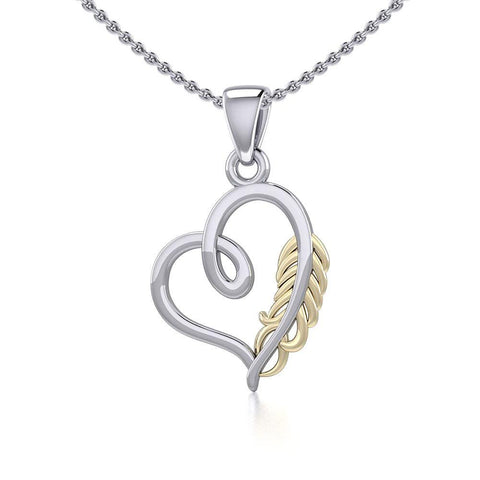 Silver and Gold Heart with Feather Pendant MPD5288