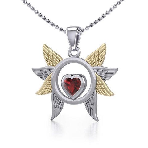 Spreading Angel Wings Silver and 14K Gold Plate Pendant with Gemstone MPD5289