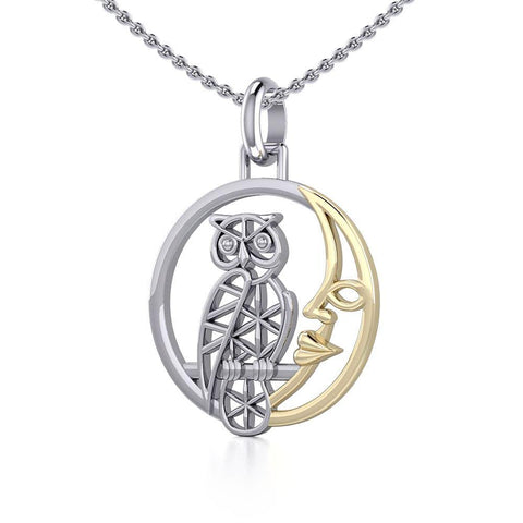 Silver Flower of Life Owl on The Golden Moon Pendant MPD5300