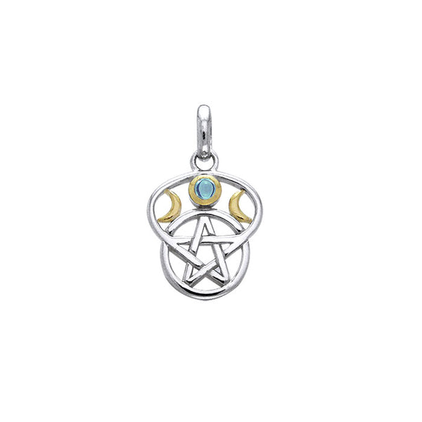 Moon Pentacle Silver and Gold Pendant