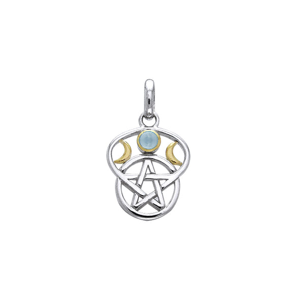 Moon Pentacle Silver and Gold Pendant MPD832