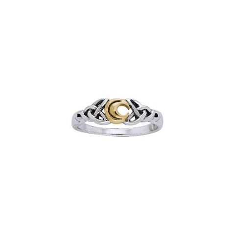Celtic Moon Spell Silver and Gold Ring MRI1557