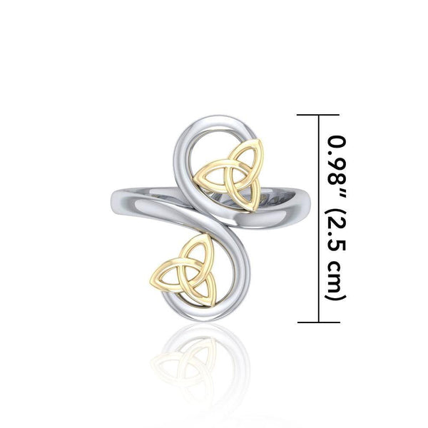 Celtic Trinity Knot Spiral Silver and Gold Ring MRI1786