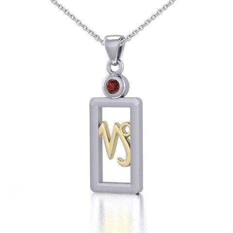 Capricorn Zodiac Sign Silver and Gold Pendant with Garnet and Chain Jewelry Set MSE781