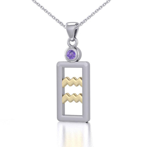 Aquarius Zodiac Sign Silver and Gold Pendant with Amethyst and Chain Jewelry Set MSE782