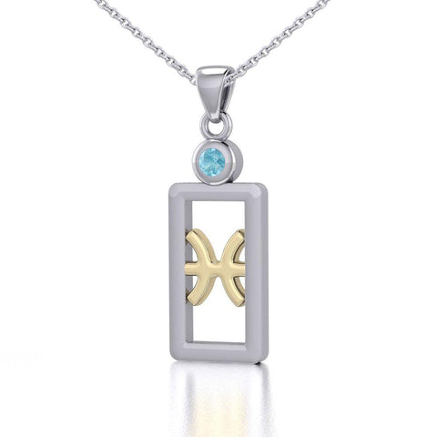 Pisces Zodiac Sign Silver and Gold Pendant with Aquamarine and Chain Jewelry Set MSE783