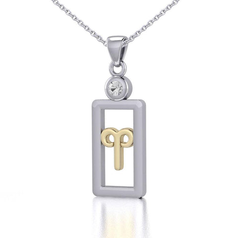 Aries Zodiac Sign Silver and Gold Pendant with White Stone and Chain Jewelry Set MSE784