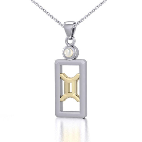 Gemini Zodiac Sign Silver and Gold Pendant with Mother of Pearl and Chain Jewelry Set MSE786