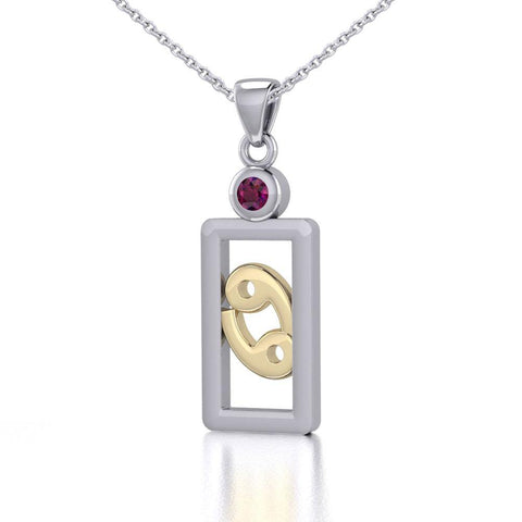 Cancer Zodiac Sign Silver and Gold Pendant with Ruby and Chain Jewelry Set MSE787