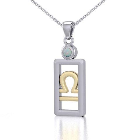Libra Zodiac Sign Silver and Gold Pendant with Opal and Chain Jewelry Set MSE790