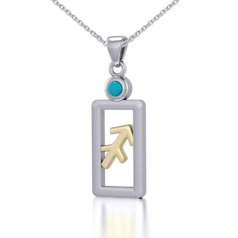 Sagittarius Zodiac Sign Silver and Gold Pendant with Turquoise and Chain Jewelry Set MSE792