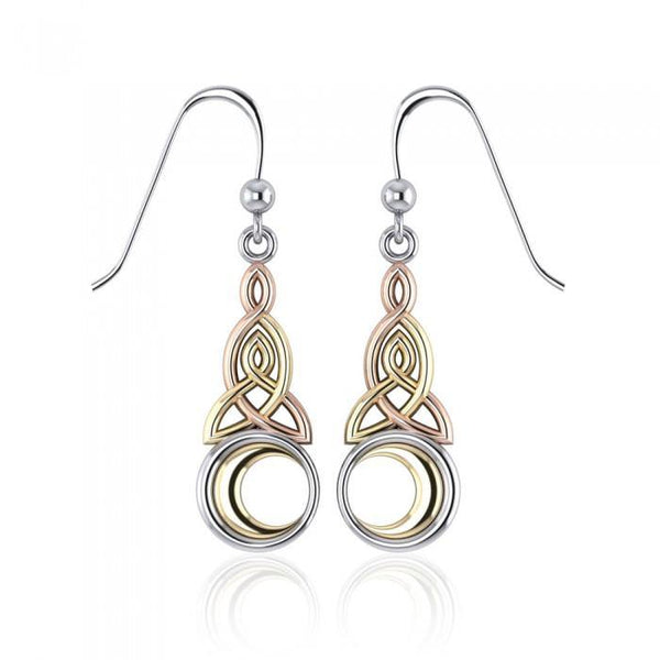 Celtic Knotwork Three Tone Triquetra Earrings OTE2565