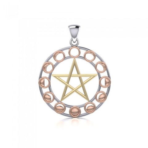 Moon Phase Pentacle Three Tone Pendant OTP1038