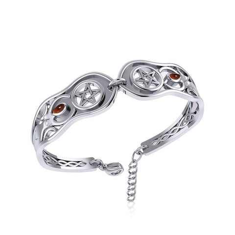 Goddess Silver Cuff Bracelet with Gemstone TBA271