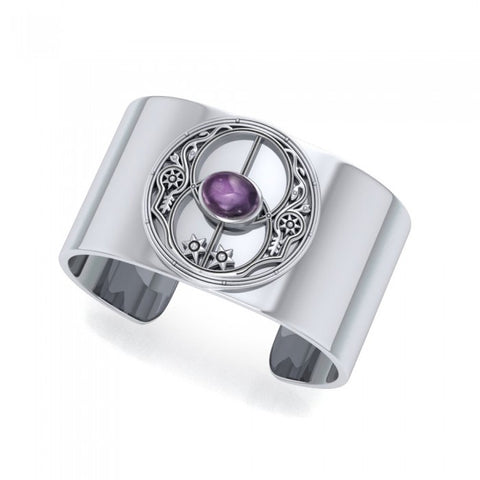 Chalice Well Silver Cuff Bracelet with Gemstone TBG734